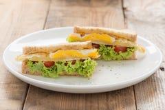 Oeuf au plat de Sandwichs avec du fromage Image libre de droits