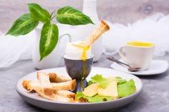 Oeuf bouilli mol, biscuits, morceaux de fromage et laitue de poulet d'un plat sur la table images stock