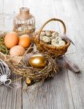 Oeuf d'or des poulets dans le nid photographie stock libre de droits
