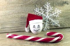 Oeuf dans le chapeau de Noël Photographie stock libre de droits