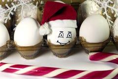 Oeuf dans le chapeau de Noël Image stock