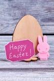 Oeuf de contreplaqué, carte de Pâques heureuse Image stock