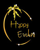Oeuf de fond de Pâques en or Photo libre de droits