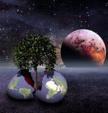 Oeuf de la terre en monde stérile illustration libre de droits