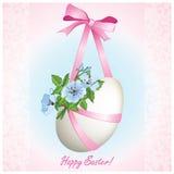 Oeuf de pâques avec des fleurs et ribbons2 Photo libre de droits