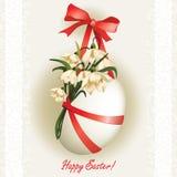 Oeuf de pâques avec des fleurs et ribbons3 Photos stock