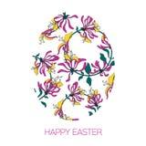Oeuf de pâques décoré du modèle floral différent d'éléments Fleurs de rose d'illustration de vecteur Images libres de droits