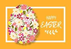 Oeuf de pâques décoré du modèle floral différent d'éléments Illustration de vecteur illustration libre de droits