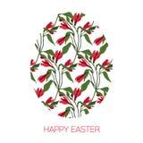 Oeuf de pâques décoré du modèle floral différent d'éléments Illustration de vecteur Symbole de carte de vecteur de salutation Images stock