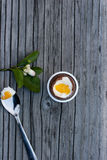Oeuf de pâques de chocolat à côté de cuillère avec le jaune Photos stock