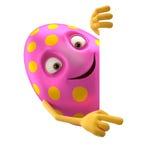 Oeuf de pâques de sourire, personnage de dessin animé 3D drôle Photos libres de droits