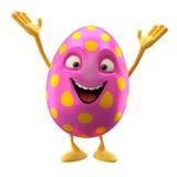 Oeuf de pâques de sourire, personnage de dessin animé 3D drôle Photo libre de droits