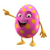 Oeuf de pâques de sourire, personnage de dessin animé 3D drôle Photos stock
