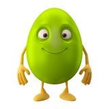 Oeuf de pâques de sourire, personnage de dessin animé 3D drôle Photo stock