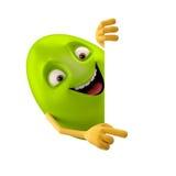 Oeuf de pâques de sourire, personnage de dessin animé drôle du vert 3D, montrant des mains Photographie stock libre de droits