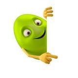 Oeuf de pâques de sourire, personnage de dessin animé drôle du vert 3D, montrant des mains Image libre de droits