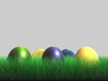 Oeuf de pâques - herbe - 3D Photographie stock libre de droits