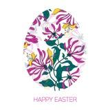 Oeuf de pâques heureux décoré du modèle floral différent d'éléments Fleurs de rose d'illustration de vecteur Photographie stock libre de droits