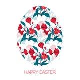Oeuf de pâques heureux décoré du modèle floral différent d'éléments Le rouge d'illustration de vecteur fleurit l'alstromeria Images stock