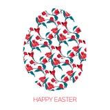 Oeuf de pâques heureux décoré du modèle floral différent d'éléments Le rouge d'illustration de vecteur fleurit l'alstromeria Image libre de droits