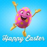 Oeuf de pâques heureux, joyeux 3D ensemble, série de ressort, objet heureux de bande dessinée Photographie stock libre de droits