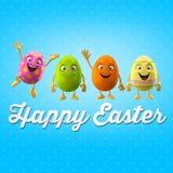 Oeuf de pâques heureux, joyeux 3D ensemble, série de ressort, objet heureux de bande dessinée Image stock