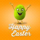 Oeuf de pâques heureux, joyeux 3D ensemble, série de ressort, objet heureux de bande dessinée Photos stock