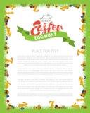 Oeuf de pâques Hunt Invitation Flyer Design avec le lapin, oeuf sur l'herbe verte Inscription Pâques de lettrage Vecteur Photo libre de droits