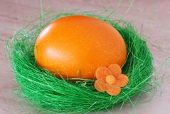 Oeuf de pâques orange Photos libres de droits