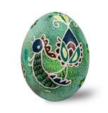 Oeuf de pâques peint à la main d'isolement à l'arrière-plan blanc avec le chemin de coupure Images libres de droits