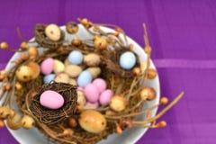 Oeuf de pâques rose sur le petit nid Images libres de droits