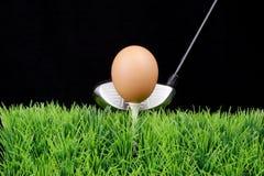 Oeuf de pâques sur le té de golf avec le gestionnaire de golf photo stock