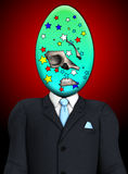 Homme sinistre de crâne d'oeuf de pâques Images libres de droits