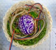 Oeuf de pâques peint dans le panier Photographie stock libre de droits