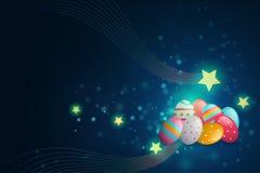 Oeuf et étoile de pâques sur le fond bleu-foncé Photo stock