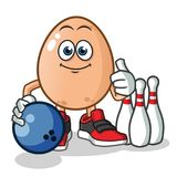 Oeuf jouant l'illustration de bande dessinée de vecteur de mascotte de bowling illustration stock