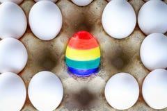 Oeuf peint comme un drapeau de LGBT Glorifiez le transsexuel bisexuel gai lesbien de droites du mois LGBT Mois de fiert? de symbo image stock