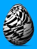 Oeuf peint ingénieux noir et blanc de différentes formes et lignes chaotiques illustration stock