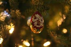 Oeuf rouge avec l'ornement peint de marguerites blanches photos stock