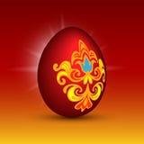 Oeuf rouge de vecteur de Pâques Image libre de droits