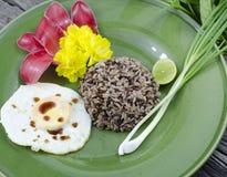 Oeuf sur le plat de jasmin de petit morceau organique de riz. Photo libre de droits