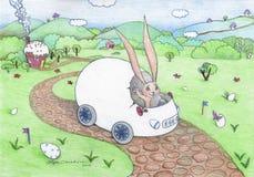 Oeuf-voiture XXXL de lapin de Pâques Photos libres de droits