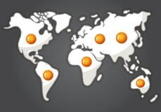 Oeufs au plat dans une forme de carte du monde illustration stock