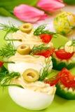 Oeufs avec la mayonnaise pour Pâques Image libre de droits