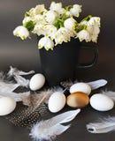 Oeufs avec le saule et plumes jaunes d'assiette creuse de ressort de fleur de bouquet toujours de vert rose blanc de la vie en ba photos libres de droits