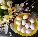 Oeufs avec le saule et plumes jaunes d'assiette creuse de ressort de fleur de bouquet toujours de vert rose blanc de la vie en ba image libre de droits