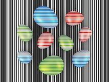 Oeufs avec les rayures colorées photographie stock