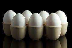 Oeufs blancs dans des coquetiers sur le noir Photographie stock libre de droits