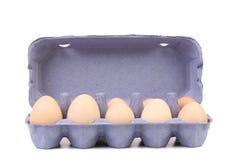 Oeufs blancs dans la boîte à oeufs. Photos stock