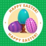 Oeufs bleus de l'affiche trois heureux de Pâques Photo stock